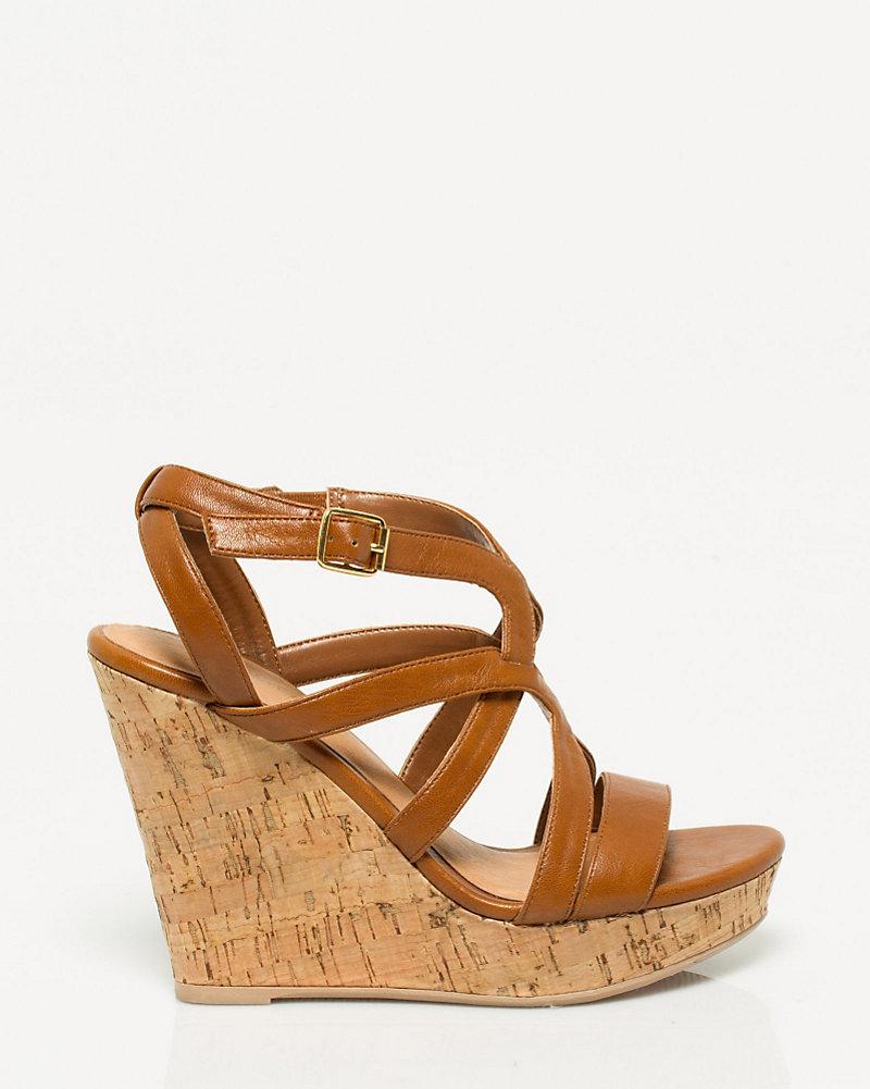 80d04df57c8 Leather-Like Cork Wedge