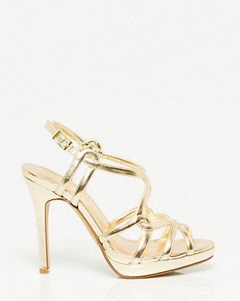 Leather-Like Metallic Strappy Sandal