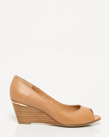 Leather-Like Peep Toe Wedge Shoe