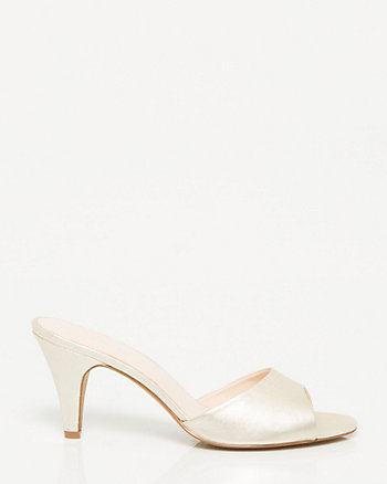 Metallic Leather Open Toe Mule