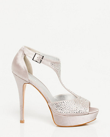 Satin Jewel Encrusted T-strap Shoe
