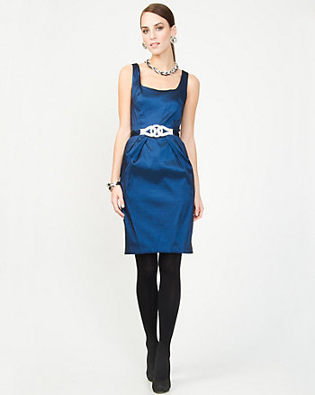 Belted Taffeta Cocktail Dress
