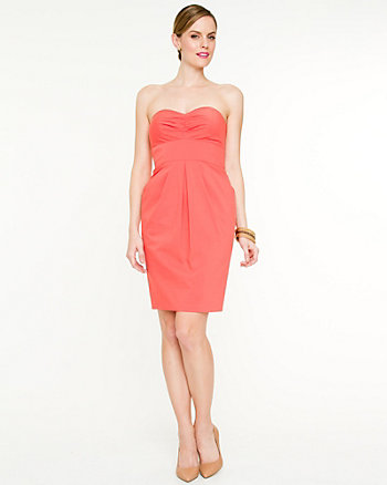 Stretch Poplin Strapless Dress