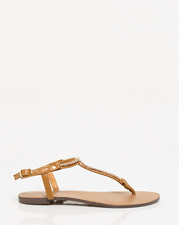 Leather-Like Jewel Encrusted Sandal