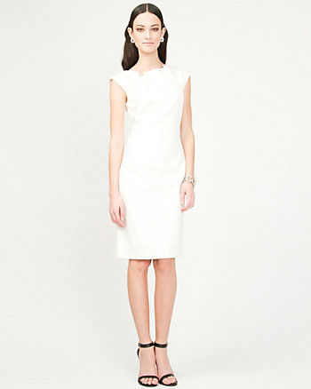 Ponte Pleated Shift Dress