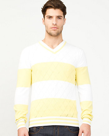 Stripe Cotton V-Neck Sweater