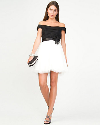 Colour Block Mesh Party Dress