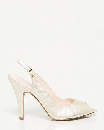 Metallic Leather Peep Toe Slingback