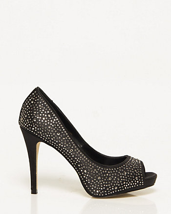 Satin Jewel Peep Toe Pump