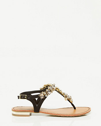 Leather-Like Jewel Encrusted Flat Sandal