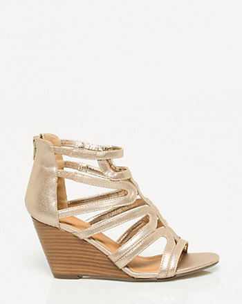 Leather-Like Gladiator Wedge