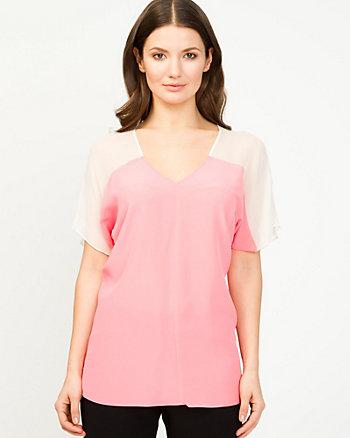 Silk Colour Block Blouse