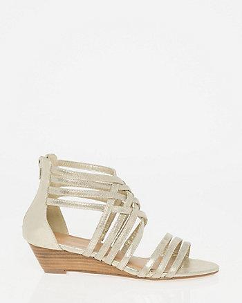 Metallic Foil Strappy Sandal