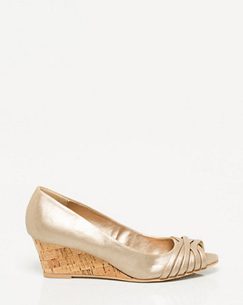 Metallic Foil Peep Toe Wedge