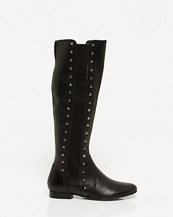 Leather Studded Over-the-knee Boot