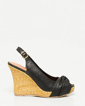 Leather-Like Slingback Wedge