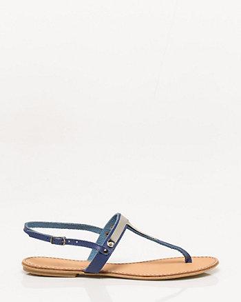Metal Detail T-Strap Sandal