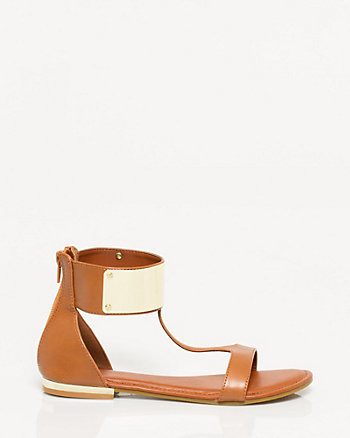 Leather-Like Ankle Cuff Sandal