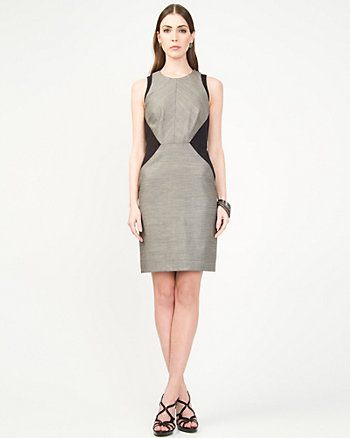 Linen Blend Colour Block Dress