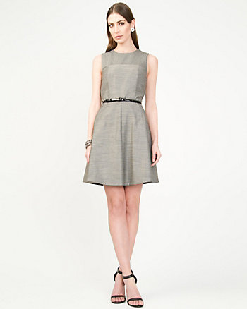 Linen Blend Fit and Flare Dress