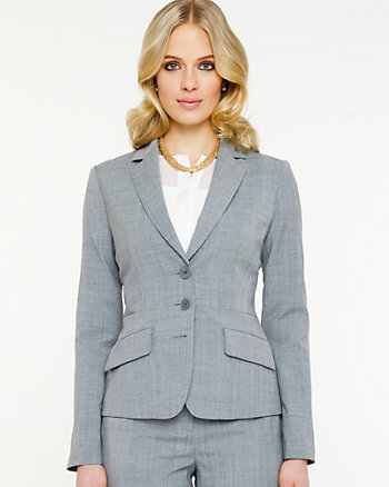 Wool Blend Notch Collar Blazer