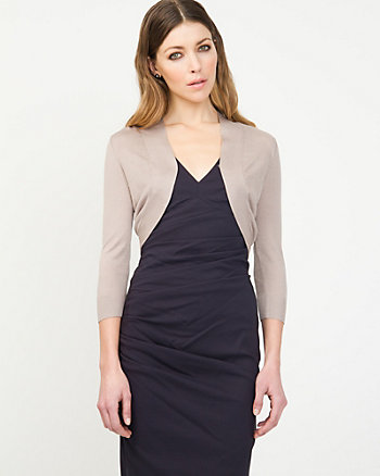 Open-Front Silk Blend Shrug