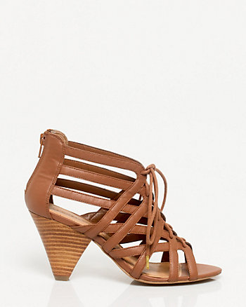 Leather-Like Lace-up Sandal