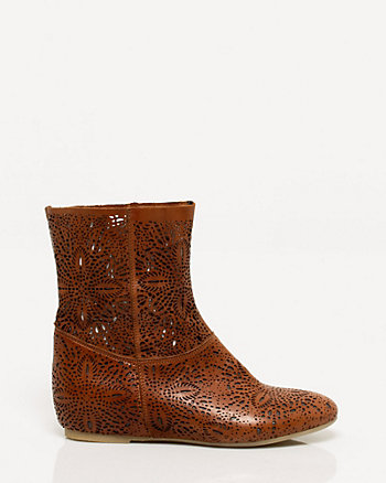 Italian Made Leather Cutout Ankle Boot