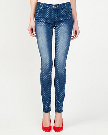 Polka Dot Skinny Denim Pant