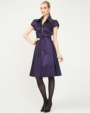Pleated Taffeta Shirt Dress