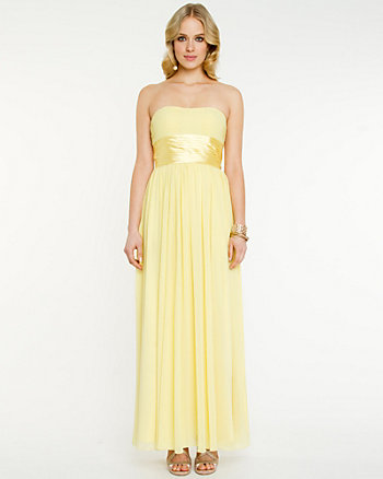 Pleated Chiffon Overlay Sweetheart Gown
