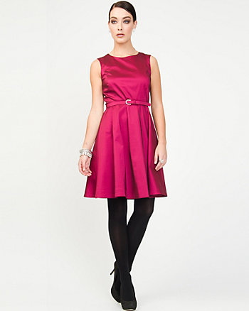 Stretch Taffeta Fit & Flare Dress