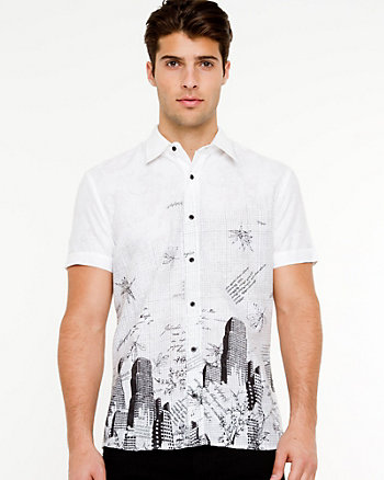Cotton Blend Print Shirt