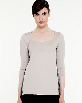Knit & Woven Print Sweater