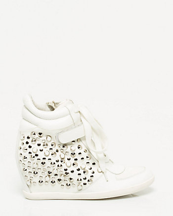 Studded Leather Wedge Sneaker