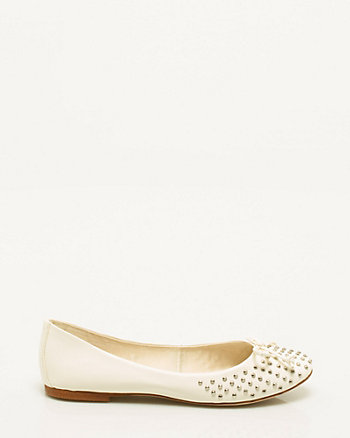 Leather Stud Ballerina Flat