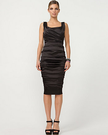 Satin Scoop Neck Ruched Dress