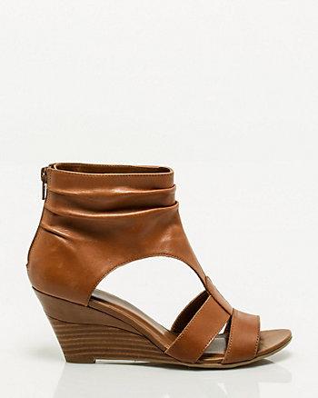 Peep Toe Leather Wedge