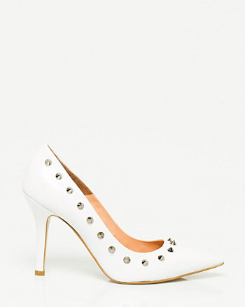 Leather Pointy Toe Stud Pump