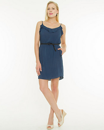 Challis V-Neck Belted Tunic Dress