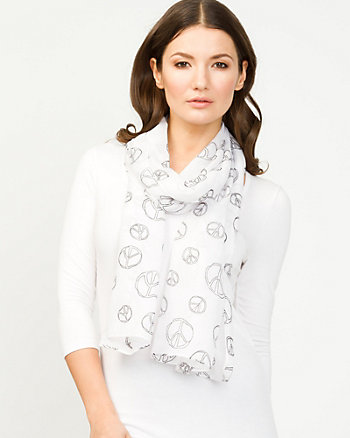 Peace Sign Print Scarf