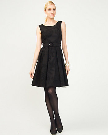 Flocked Bengaline Fit and Flare Dress