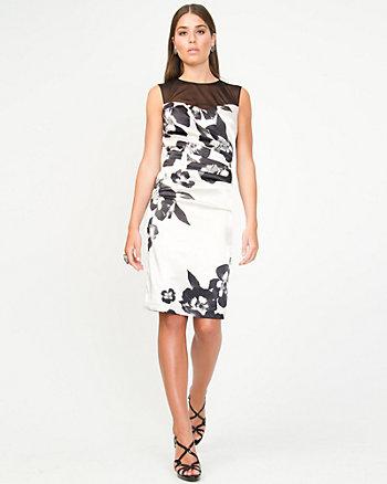 Floral Satin Illusion Dress