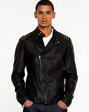 Faux Leather Funnel Neck Jacket
