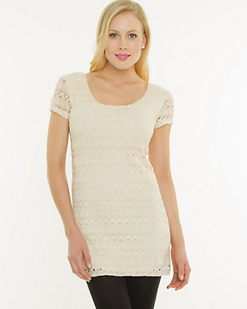 Knit Lace Scoop Neck Tunic