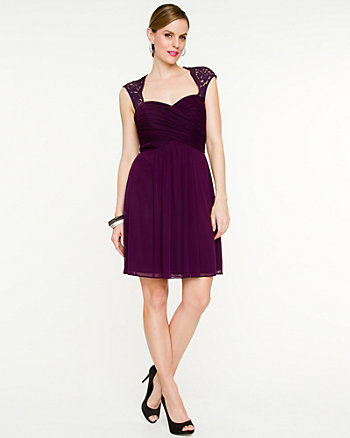 Mesh Fit and Flare Dress