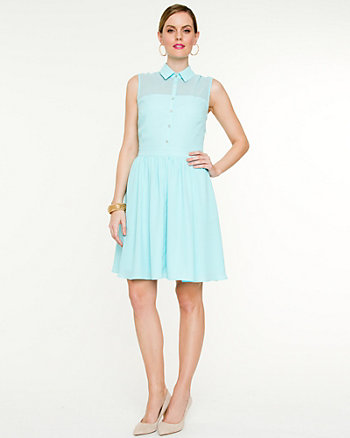 Chiffon Illusion Fit & Flare Dress