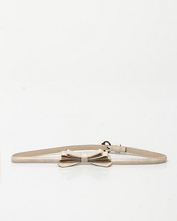 Bow Embellished Skinny Belt