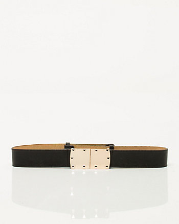 Leather-Like Metal Buckle Belt