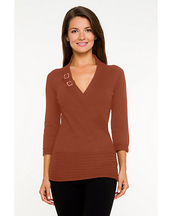 Faux-Wrap 3/4 Sleeve Sweater